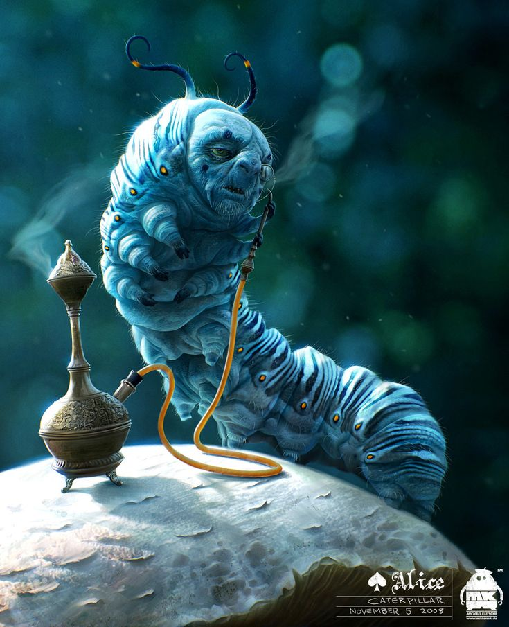 Alan Rickman in Tim Burton's new movie Alice in Wonderland as the trippy-but-wise, hooka-smoking, blue Caterpillar named Absalom. Yes, he sits on a mushroom.   : )