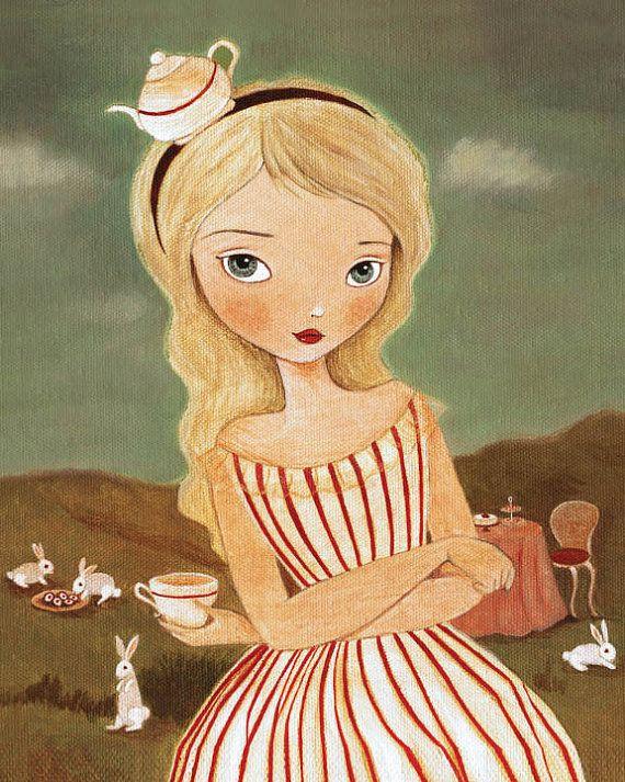 Alice In Wonderland Art - A Tea Party Print 5x7 / 6x8 - Childrens Art, Rabbit, Pink, Nursery, Girls Room Art, Decor, Cute, Alice, Bunny    Its not