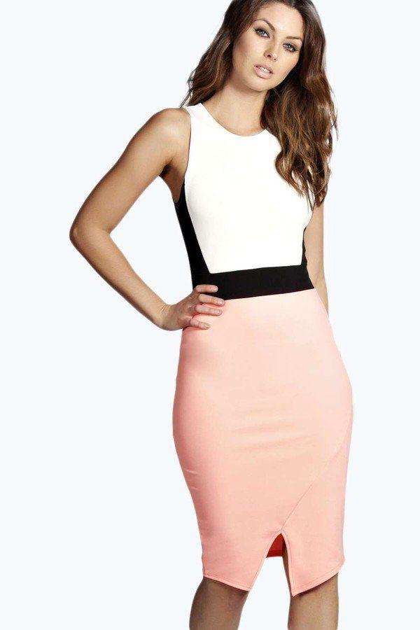 """Pin for Later: Die 50 schönsten Kleider für deinen Abiball  Bohoo """"Sonia"""" eng geschnittenes Kleid in Kontrastfarben (30 €)"""