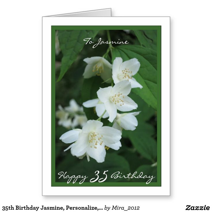 35th Birthday Jasmine, Personalize, Jasmine Flower Greeting Card