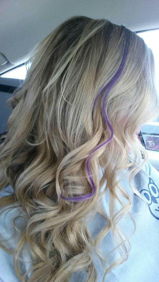 High lights low lights purple streak pretty hair