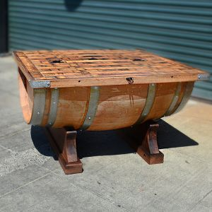 half barrel cocktail table with storage trunk napageneralstore.com