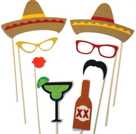 Cinco de Mayo Hostess Gift:  Cinco de Mayo Photo Booth Props (set of 8) by Crafting by Denise @ Etsy