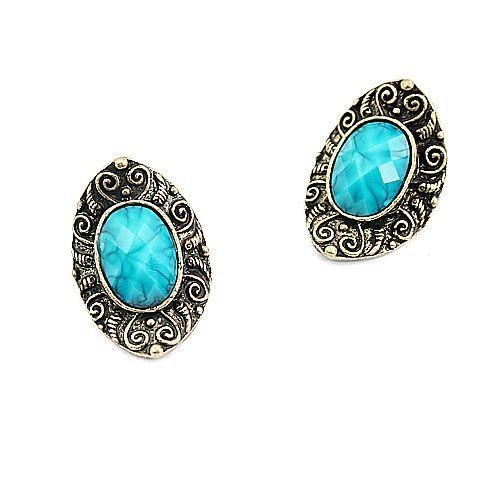 Vintage Inspired Blue Faux Gemstone Oval Stud Earrings wholesale
