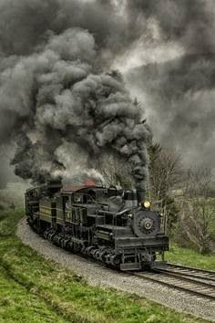 Steam Rolling Black As Coal ~ Cass Shay #5 & 6 double heading pulling a freight train