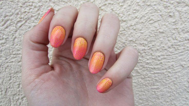 My Nail Polish Diary: 121. Nail Stamping Challenge - Pink & Yellow & Ombre
