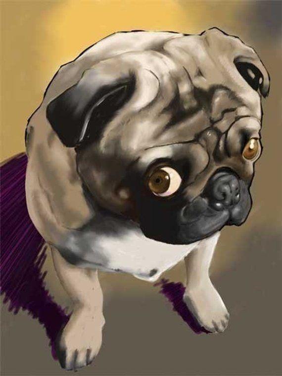 Pug Gift Pug Art Pug Print Pug Wall Decor Cute Pug Dog Art