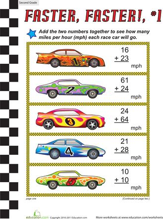 Worksheets: Faster, Faster: Two-Digit Addition #1