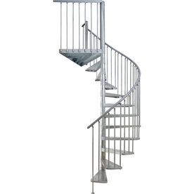 DOLLE 5 Ft 1 In Toronto Galvanized Steel Interior/Exterior Spiral Staircase