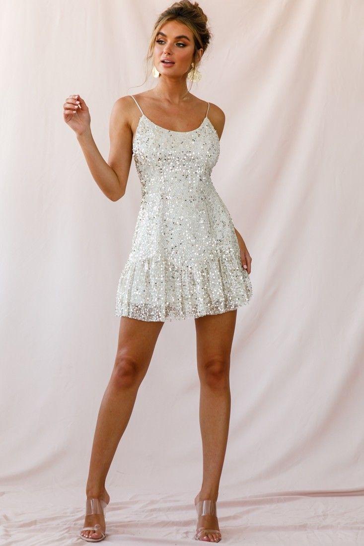 Best Shine Spaghetti Strap Sequin Mini Dress Champagne 640 x 480