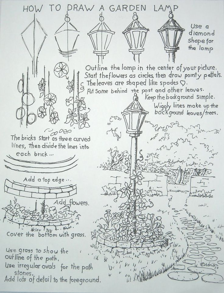 How to draw a lamp post (http://drawinglessonsfortheyoungartist.blogspot.com/2012/05/how-to-draw-garden-lamp-post.html)