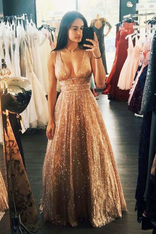 a413fcab A-Line Deep V-Neck Long Backless Prom Dress with Sequin, Sparkly A-Line  Floor Length Gold Long Prom Dress #promdress #2019promdresses #golddress  #romprom