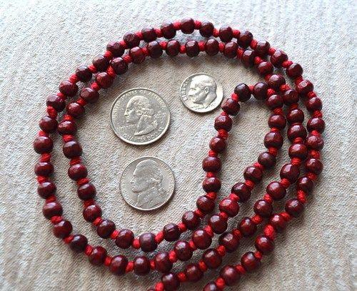 108 Rosewood Red Sandalwood Hand Knotted Mala Beads Necklace-Blessed Karma Nirvana Meditation 6mm Prayer Bead For Awakening Chakra Kundalini