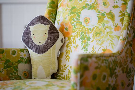 Handmade Lion Pillow Lion Toy Stuffed Animal Baby Toy by Gingiber