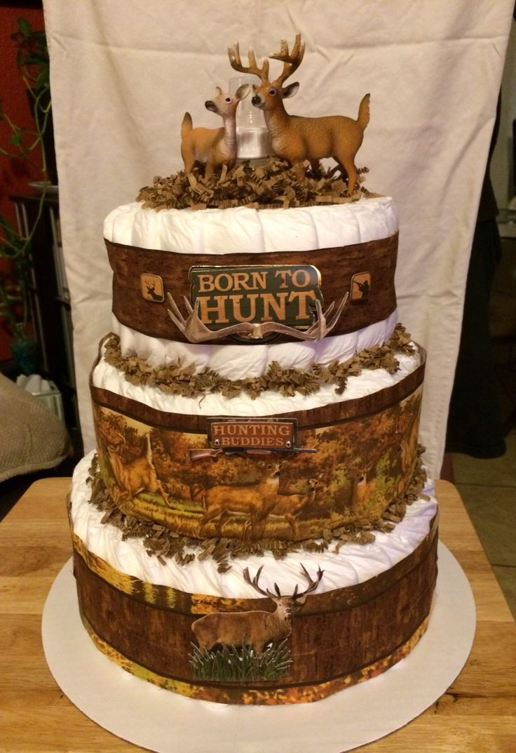 Hunting Theme Diaper Cake My Diaper Cakes In 2019 Baby
