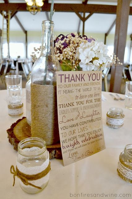 Centerpiece idea, instead of thank you card substitute with program card