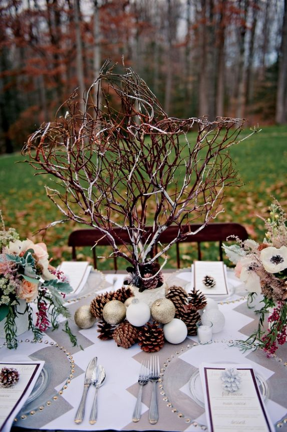83 best rustic winter weddings images on pinterest winter weddings make your christmas table shine with these elegant table centerpiece ideas for christmas junglespirit Image collections