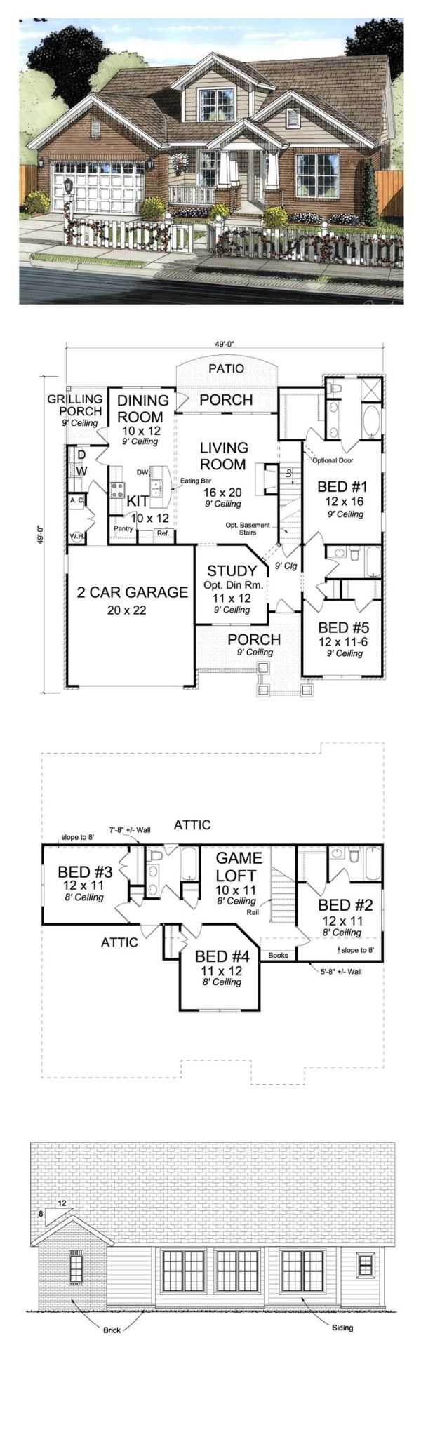 Craftsman House Plan 61421   Total Living Area: 2317 sq. ft., 5 bedrooms and 4 bathrooms. #houseplan #craftsmanhome by sonya