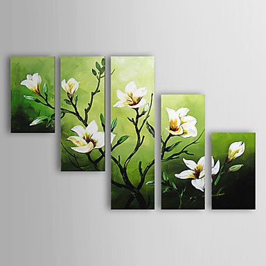 5 Panel Wall Art Pictures Botanical Red Feng Shui white Orchid Oil Painting On Canvas The Picture For Living Room Decoration