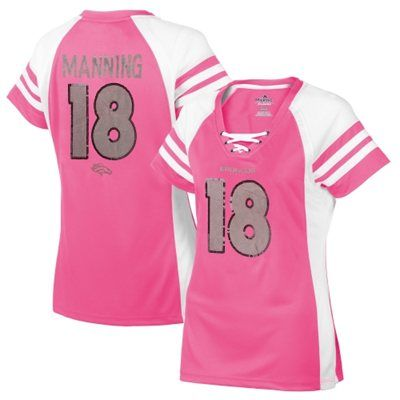 Women's Denver Broncos Peyton Manning Majestic Pink Draft Him IV T-Shirt (Medium)