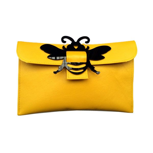 Heidi Sturgess | Bee Clutch Bags featuring polyvore, fashion, bags, handbags, clutches, yellow handbag, yellow purse and yellow clutches