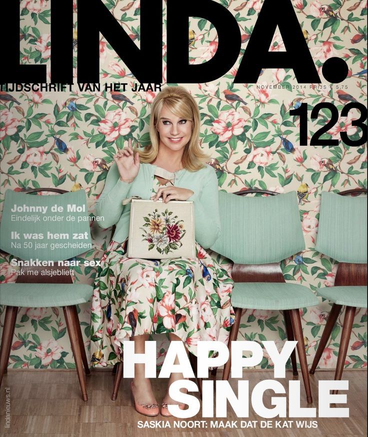 Dutch actress and TV host Linda de Mol wearing our 50s Wilde Floral Swing Dress in Beige on the cover of her own magazine Linda.