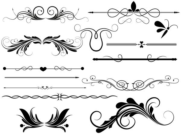 Divider & Page Decoration Vectors Designs Brushes, Shapes & PNG