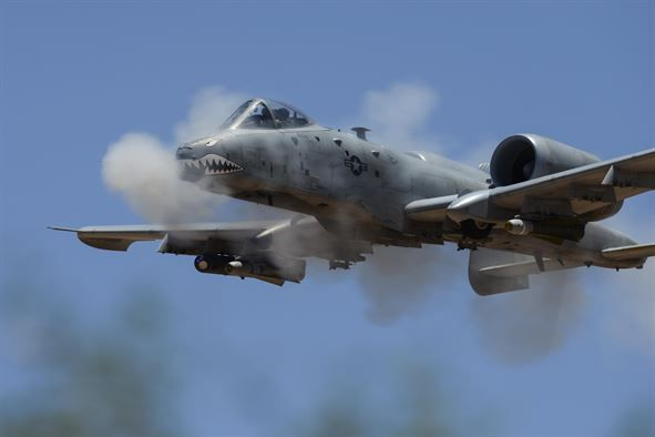 An A-10C Thunderbolt II assigned to the 75th Fighter Squadron performs a low-angle strafe during the Hawgsmoke competition at Barry M. Goldwater Range, Ariz., June 2, 2016. The two-day competition included team and individual scoring of strafing, high-altitude dive-bombing, Maverick missile precision and team tactics. (U.S. Air Force photo/Senior Airman Chris Drzazgowski)