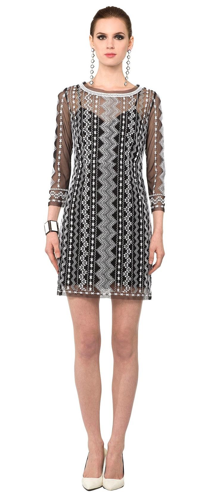 Embroidered Long Sleeve Dress -  Catherine Malandrino