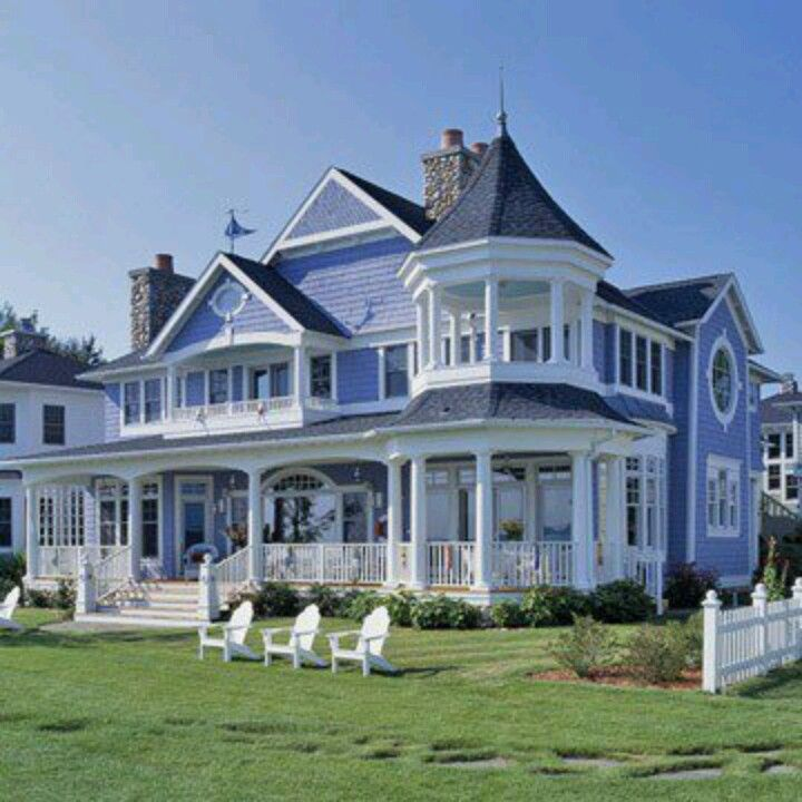 a blue victoria house very nice love the porch up in the second floor - Modern Victorian House Design