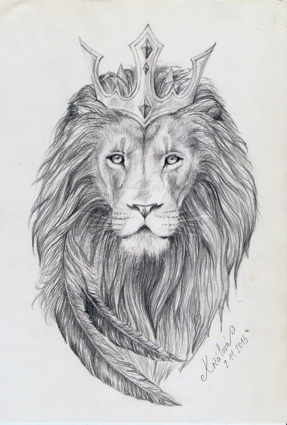 Lion of Judah sketch. Pretty crown drawn with feathers.
