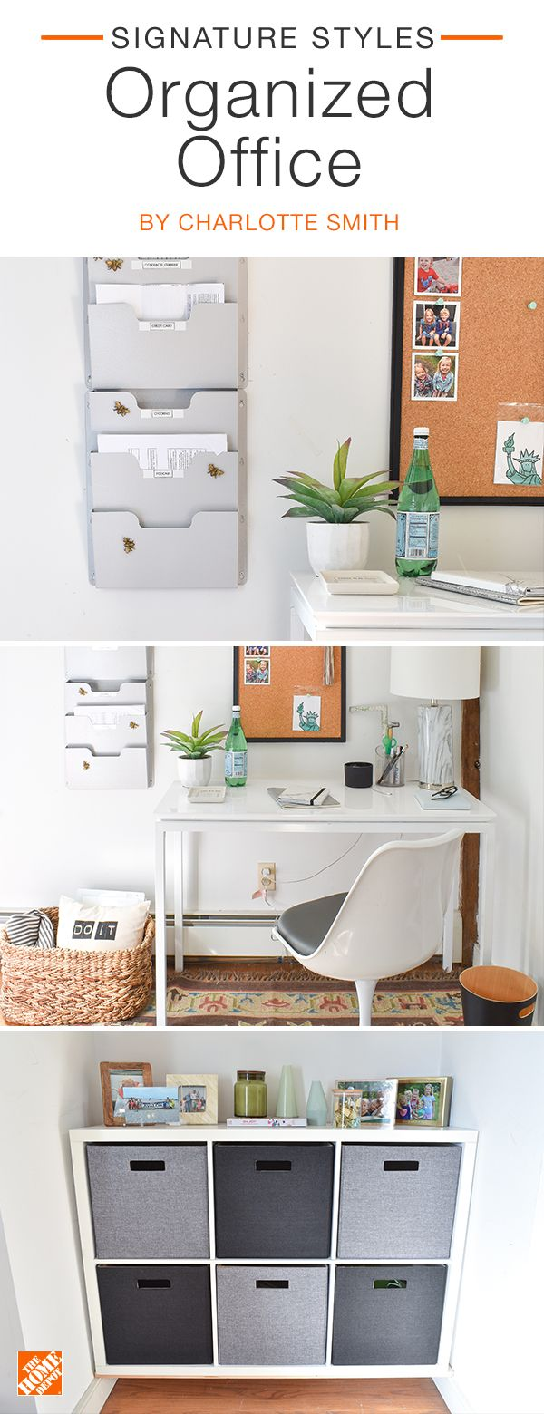 To keep your resolution of getting organized, design a workspace that's beautiful and functional. Every piece should serve a purpose, whether it's a wall filing system to organize important papers or a 6-cube organizer to keep clutter out of sight. We partnered with blogger Charlotte Smith to create this organized office. Click to shop the products you see here.