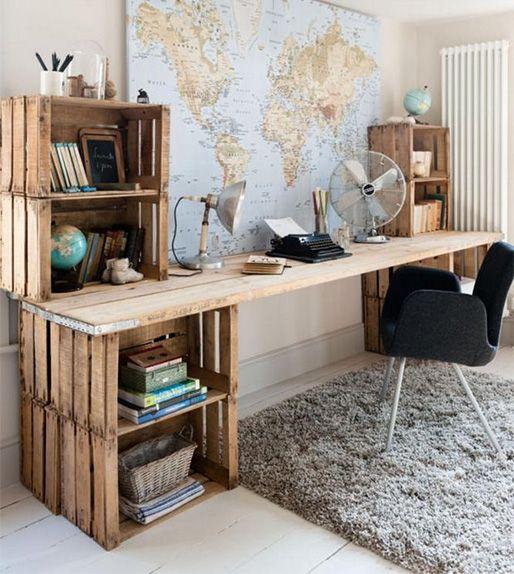 Las 25 mejores ideas sobre muebles hechos a mano en for Mesa con cajas de fruta