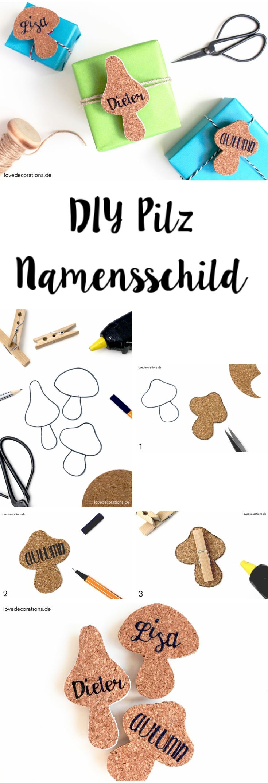 DIY Pilz Namensschild aus Kork