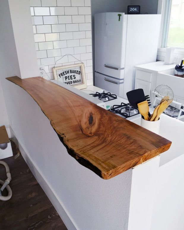 countertop ideas live edge wood counter in white kitchen
