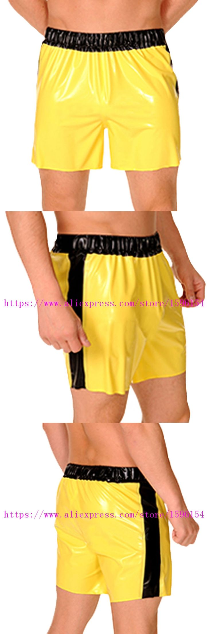 Sexy Latex Man Panties with Elastic Bands Stripes Short Boxer Short Rubber Hot Pants Bottom Panty LPM067