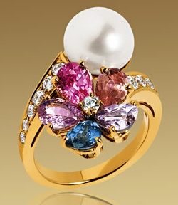 Bulgari-sapphire flower-web-mar 2013,18k yellow gold ring, set pearl , diamonds and special colored corundums, pave set diamonds