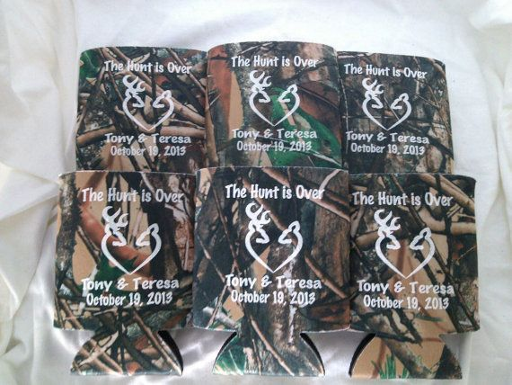 Personalized Wedding Koozies The Hunt is Over lot of 200 custom can party favor -Design 2539 Stock Art Available on Etsy, $109.99