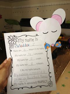 """Name craftivity for back to school using """"Chrysanthemum"""" by Kevin Henkes!"""