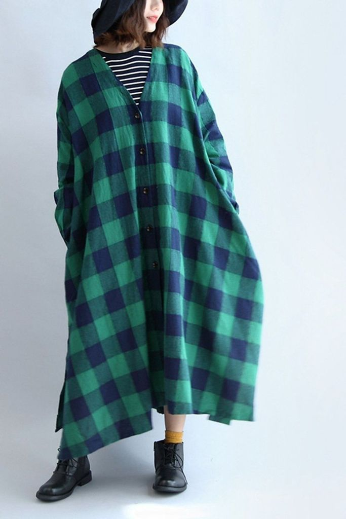 Linen Plaid V-neck Elastic Waist Loose Plus Size Women Dress
