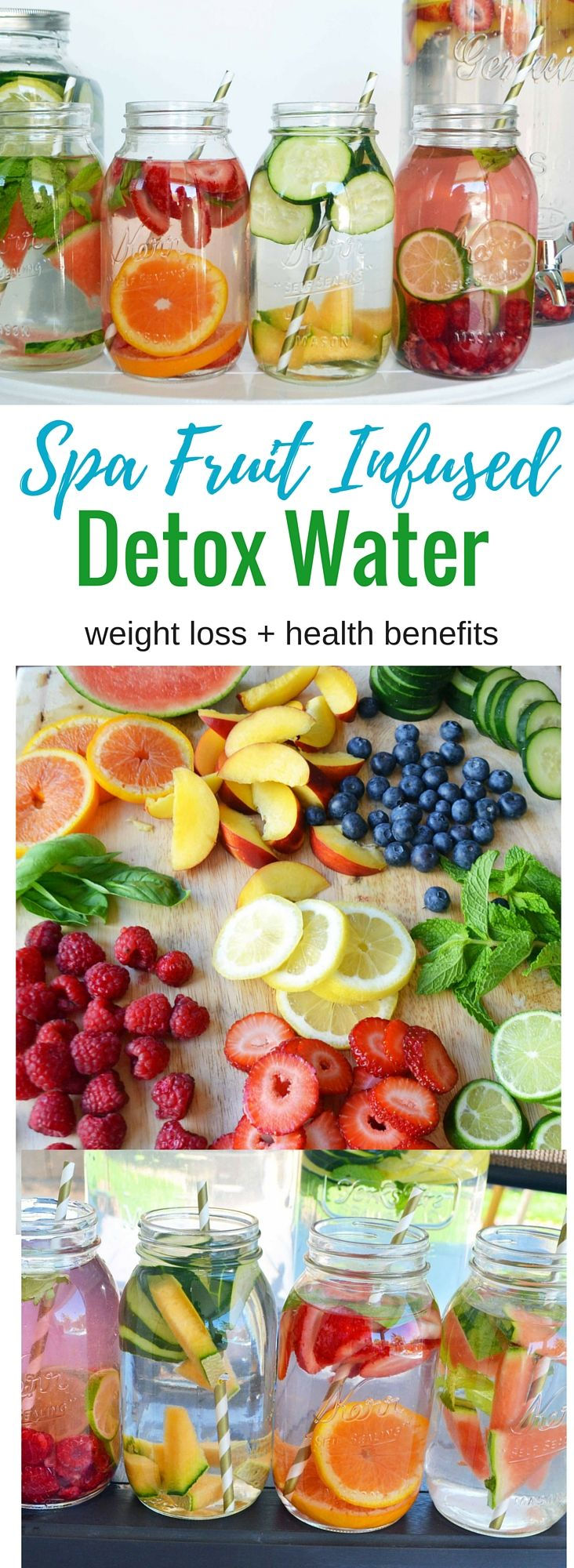 Spa Fruit Infused Detox Water aids in weight loss and has numerous health benefits plus it makes your water taste refreshing and delicious! (flavored water recipes fruit)