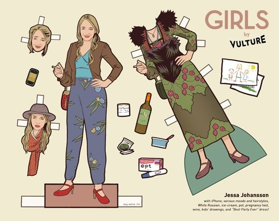 """""""Girls by Vulture"""" -- Paper Dolls cut-outs from HBO's """"Girls"""" Cast brought to you by Vulture/NY Mag -- Jessa Johansson"""
