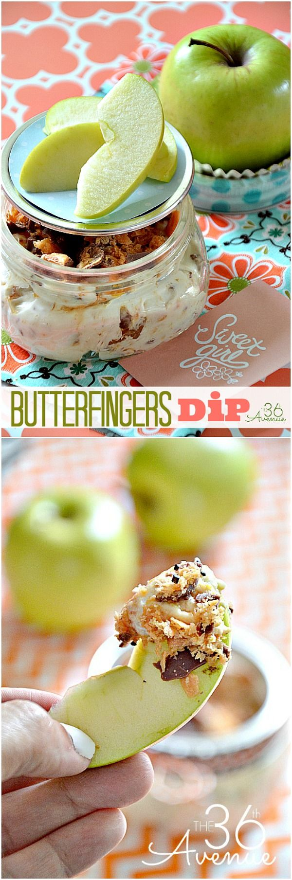Delicious Butterfingers Dip Recipe at the36thavenue.com