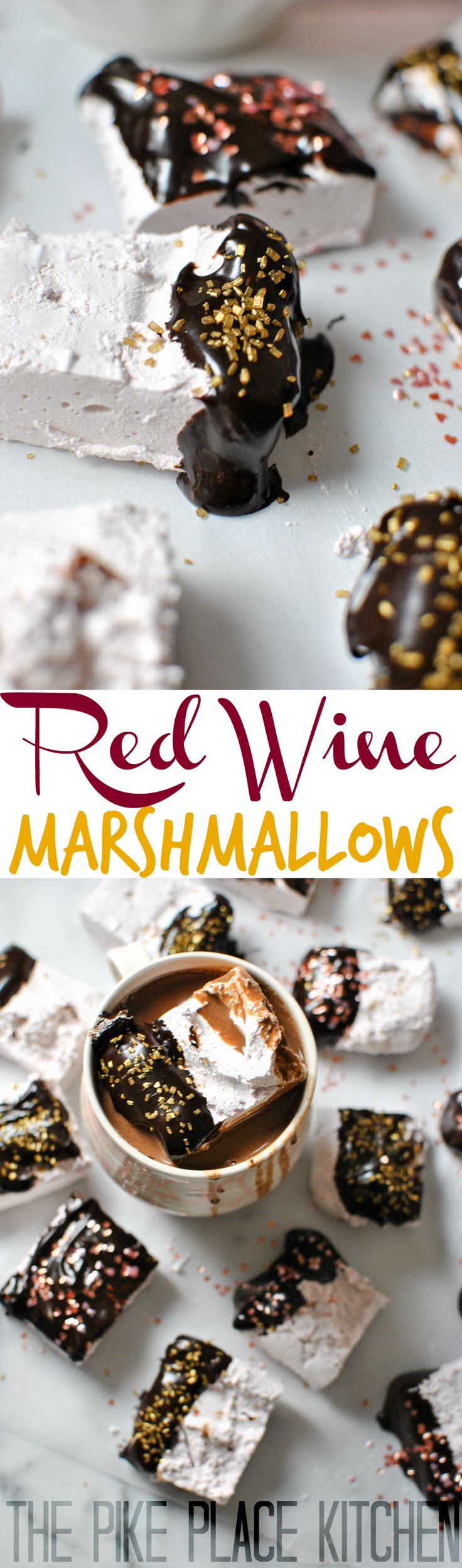 Red Wine Marshmallows + Chocolate & Red Wine Ganache! A delicious and easy recipe for a boozy spin on the classic marshmallow! Totally indulgent and one of our favorites! | thepikeplacekitchen.com