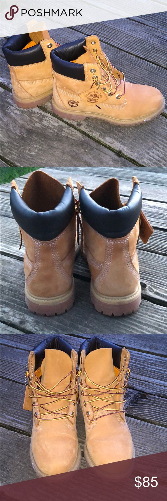 Timberland premium boot. Color: wheat Very cute and casual timberland boots. Love them so much but sadly out grew them. There is also a light gray scratch on the boot. Timberland Shoes Lace Up Boots