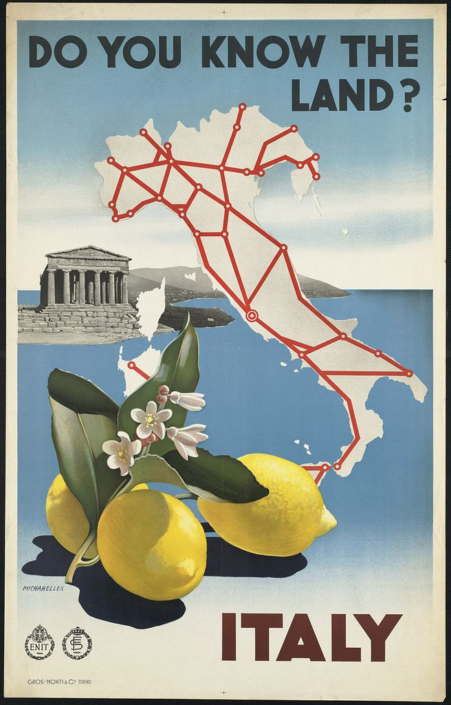 File name: 08_05_000045  Title: Italy. Do you know the land?  Created/Published: Torino [Italy] : Gros-Monti & Co.  Date issued: 1910-1959 (approximate)  Physical description: 1 print (poster) : color  Genre: Travel posters; Prints  Subjects: Lemons; Coastlines; Temples; Ente nazionale industrie turistiche (Italy)  Notes: Title from item.  Statement of responsibility: Michahelles  Location: Boston Public Library, Print Department  Rights: Rights status not evaluated