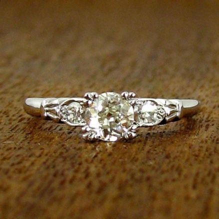 Vintage Engagement Ring with Round Side Stones