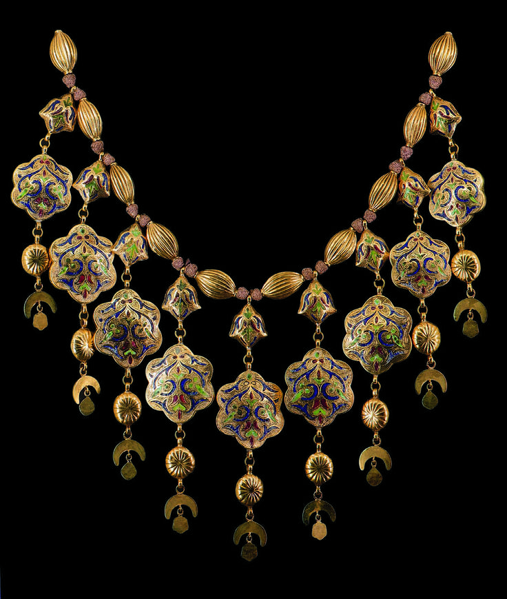 Morocco | Wedding necklace ~ Labbah; Gold, enamel, precious stones | ca. 18th century, Fez || 100,000€ ~ sold Aug 2010. #Africa #African #Morocco #Moroccan #bridal #bride #brides #wedding #weddings