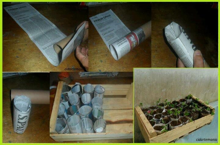 Newspaper, cardboard tube, & clementine box