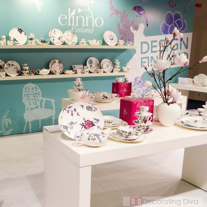 Elinno booth at Ambiente 2015. Purveryor of fine bone china from Finland. | The Decorating Diva, LLC